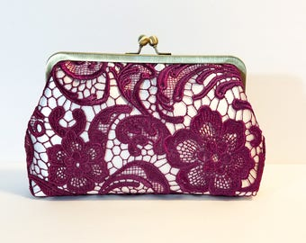 Burgundy Lace Bridal Clutch | Satin Bridal Purse | Handmade Ivory Lace Bridesmaid Clutch | Wedding Clutch | 8 inch Clasp