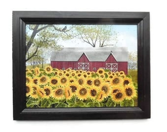 Sunflower and Barn, Sunshine, Billy Jacobs Art Print, Country Home Decor, Wall Hanging, Handmade, 19 x 15 Custom Wood Frame, Made in the USA