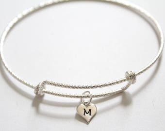 Sterling Silver Bracelet with Sterling Silver M Letter Heart Charm, Silver Tiny Stamped M Initial Heart Charm Bracelet, M Charm Bracelet