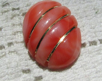 Vintage carved coral gemstone cabochon with 14 kt gold wire  salmon peach pink coral rare find 18 x 13 #3