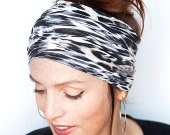 Leopard Headband - Tube Headband Leopard Head Wrap Womens Headband Hair Accessories Runner Gift Hair Loss Hat  Vegan Knit Leopard Print Cats