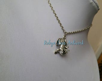 Small 3D Silver Frog Prince Charm Necklace with Crown and Glass Crystal Eyes on Silver Chain or Black Faux Suede Cord. King, Fairytale