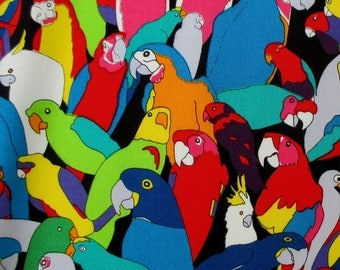 Fabric, Rainbow Parrot, Black, Alexander Henry, Nicoles Prints, Parrots, Tropical Birds, By The Yard