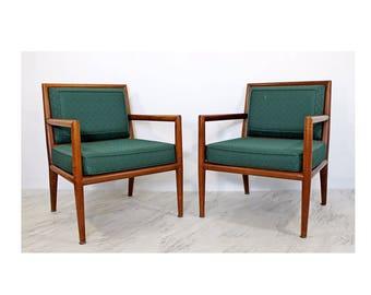 Mid Century Modern Pair of Robsjohn Gibbings for Baker Lounge Arm Chairs 1950s