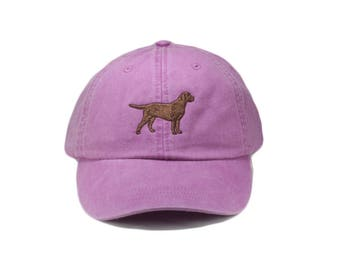 Chocolate Labrador retriever embroidered hat, baseball cap, dad hat, dog mom, pet lover gift, hunting hat, lab silhouette, chocolate lab