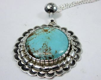 Real Turquoise and Sterling Silver Medallion Necklace. Number 8 Mine Turquoise. Statement necklace, Large Necklace, Southwestern Jewelry