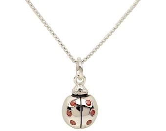 Sterling Silver Ladybug w/CZs Charm Necklace with Gift Box  (BCN-Ladybug Red)