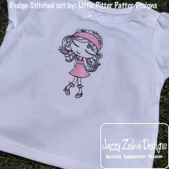 Swirly girl 1 sketch embroidery design - girl embroidery design - sketch embroidery design - vintage stitch embroidery - girl embroidery