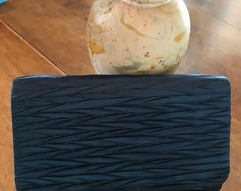 Vintage Navy Blue Silky Satin Pleated Evening Bag Clutch La Regale So Pretty!