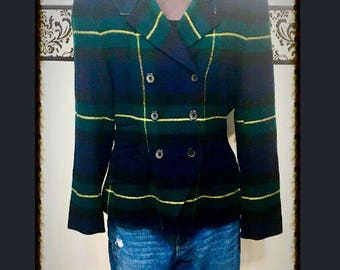 Donna Karan DKNY Lambswool Blazer, 1990's Wool Plaid Button Blazer, Size 8 SIze Medium, 90's Vintage Donna Karan Hipster Blazer Jacket