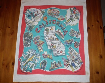 Vintage 1950's California Tablecloth - Vintage 1940's Californian State Map Tablecloth - Vintage San Francisco Printed Table Linen