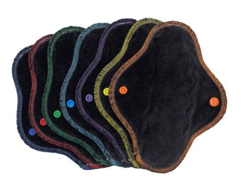 """Set of 7) 8"""" moderate/regular bamboo velour/poly fleece cloth panty liners, reusable menstrual pad"""