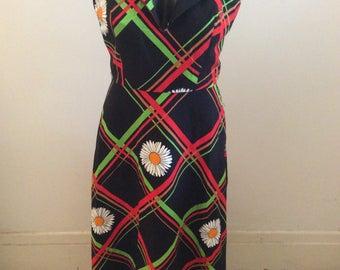 Vintage SUSAN PETERS 60s 70s Black Floral Cotton Hostess Halter Maxi Long Dress Sz S M US 4 6 Aus 8 10