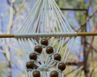 Ivory Macrame Plant Hanger with Brown Wooden Beads