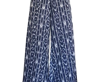 Fair Trade Handwoven Ikat Nautical Navy Palazzo Pants