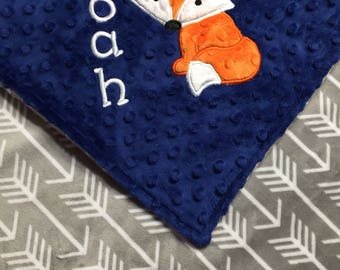 Personalized Minky Baby Blanket, Grey Arrows and Midnight Blue Minky, Fox Blanket, Monogrammed Blanket