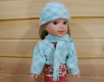 Jacket, Hat & Scarf Set for 14 Inch Doll