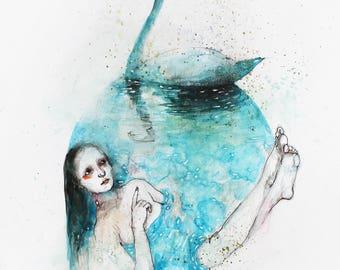Swan lake. Swan painting, swan watercolor wall art. Swan illustration. Womans watercolor portrait. Woman and swan painting. FREE SHIPPING!