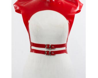 Arma Latex Harness with geometric 3d shoulders and buckles