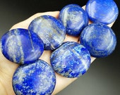 Gorgeous Lapis Lazuli Round Palm Stone Disc - Natural Blue Genuine Third Eye Crystal - Empowered Intuition and Empath Protection 40-43mm