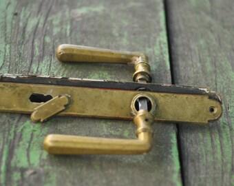 antique door handles vintage door old door handle with plates handle plate set - Antique Door Hardware