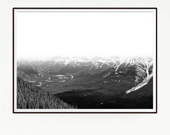 Printable Mountains Forest Wall Decor Nordic Art Print Poster Scandinavian Monochrome Black White Nature Wilderness Minimalist Snow 1041