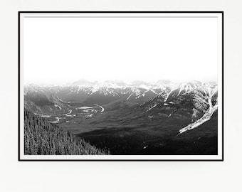 Printable Mountains Forest Wall Decor Nordic Art Print Poster Scandinavian Monochrome Black White Nature Wilderness Minimalist Snow 1041