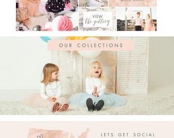 Wix Website design, website template, photography website,  gold, black, blush, pink, wedding planner, ecommerce  E4905