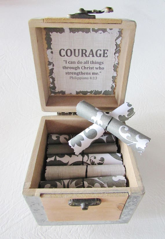 Courage Bible Box, Prayer Box, Inspirational Bible Verses in Box, Bible Wood, Bible Verse Art, Courage Verse, Faith Verse, Hope Verse, Bible