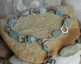 Hand forged Sterling Silver Bracelet with Natural Aquamarine Crystals