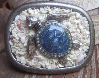 sea turtle belt buckle turtle accessories Beach sea shells mens silver belt buckle embellished belt buckle Lavish Lucy women's  belt buckle