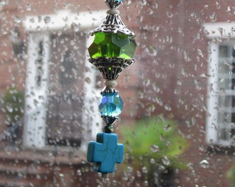 beaded rear view mirror charm turquoise cross religious protective car accessories sparkly faceted blue & green beaded car accessories charm