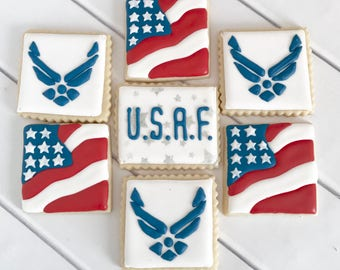 Air Force Cookies | Air Force Wedding | United States Air Force | Air Force Gift | Air Force Graduation | Air Force Party | One Dozen