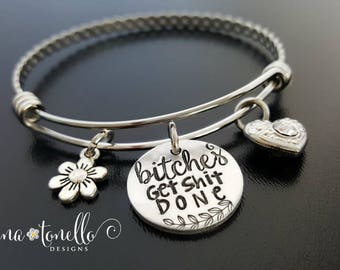 Bitches Get Shit Done, Bitches Get Stuff Done, Funny Jewelry, Tina Fey Quote, Mature, Dirty Word Jewelry, Naughty Bracelet, SNL Jewelry