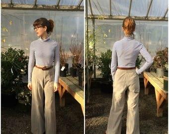 "High Waisted Pants Corduroy 70s XXS Vintage Wide Leg Gray Pants 24"" Waist / Highwaisted Trousers"