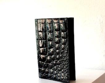 Vintage Black Alligator Skin Passport Wallet / 50's European Black Cow Hide Leather Alligator Skin Travel Wallet / Black Leather Bill Fold