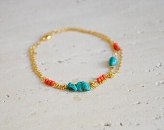 Turquoises d'été // Bracelet double