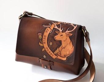 Outlander Leather Bag - Je Suis Prest - Outlander quotes - Clan Fraser