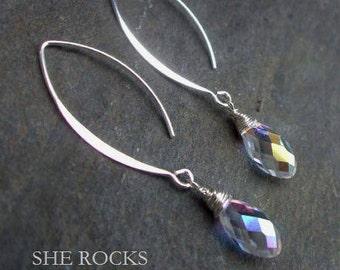 AB Swarovski crystal drop earrings Sterling Silver long hooks clear AB crystal drop earrings wedding jewelry bridesmaid prom jewellery gift