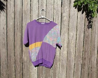 Purple Paisley T Shirt. 70s Geometric.