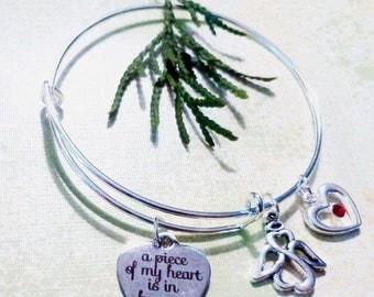 A Piece of My Heart is in Heaven ~ Adjustable Wire Bracelet w/Angel & Heart w/Red Swarovski Crystal ~ Adult or Child
