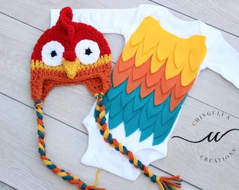 Baby Rooster Halloween Costume Baby Rooster Bodysuit and Crochet Rooster Hat