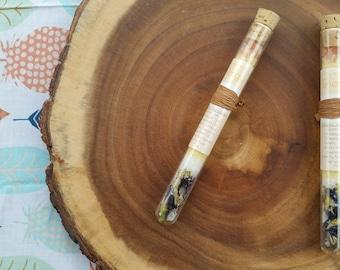 Organic Bath Salts, Organic Bath Soak Test Tube, (One) Organic Citrus Bath Salts Stick. 75oz. All Natural Skin Care, Natural Dye.