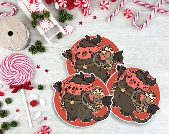 Featured listing image: Kawaii Krampus Christmas Sticker ( cute chibi naughty stickers )