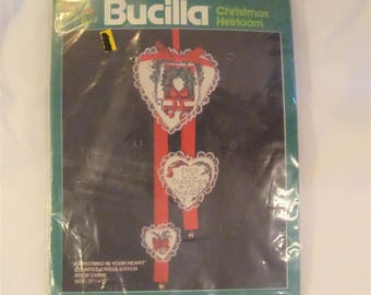 Bucilla Counted Cross Stitch Kit Christmas in Your Heart Door Chime FREE Shipping USA