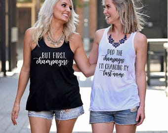 Bachelorette Party Shirts, But First Champagne, Pop the Champagne Tank Top, Workout Top, Tank Top, Bachelorette Party Tanks, Sorority Tanks