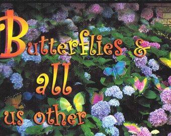 Butterflies Get Well, Get Well Card, Purple Flower Card, Cowgirl Get Well, OOAK Get Well