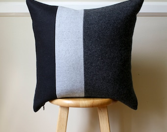 Black and Gray Striped Wool Pendleton Pillow Cover - 20x20