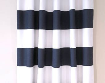 Navy, White, Curtains, Valances, Nautical, Blue, Drapery, Living Room, Bedroom, Lake, Beach, House, Panels, Window, Treatment, Custom, Bath