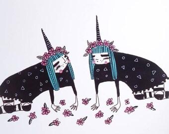Unicorn dreams- Small Poster Print